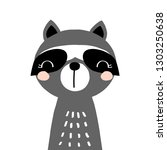 kids print with funny raccoon.... | Shutterstock .eps vector #1303250638