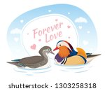 two mandarin ducks in love.... | Shutterstock .eps vector #1303258318