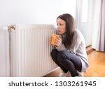 girl squatting beside radiator... | Shutterstock . vector #1303261945