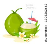 green young coconuts. fresh... | Shutterstock .eps vector #1303262662