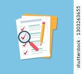 folder with document checklist  ... | Shutterstock .eps vector #1303263655