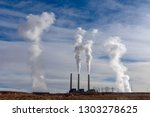 fossil fuel power station emits ... | Shutterstock . vector #1303278625