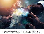 businessmen working together to ... | Shutterstock . vector #1303280152