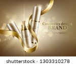 two cosmetic jars with a gold... | Shutterstock .eps vector #1303310278