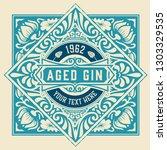 vintage gin label. vector... | Shutterstock .eps vector #1303329535