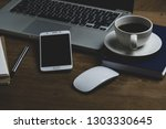 top view table office with... | Shutterstock . vector #1303330645