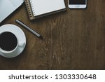 top view table office with... | Shutterstock . vector #1303330648