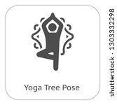 yoga fitness tree pose icon.... | Shutterstock .eps vector #1303332298