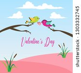 valentine day couple bird theme.... | Shutterstock .eps vector #1303332745
