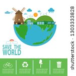 save the world infographics ... | Shutterstock .eps vector #1303333828
