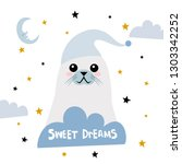 sweet dreams quote with doodles.... | Shutterstock .eps vector #1303342252
