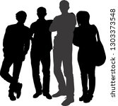 vector silhouettes of a group... | Shutterstock .eps vector #1303373548
