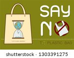 eco fabric cloth bag tote with... | Shutterstock .eps vector #1303391275