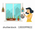 home plantation woman watering... | Shutterstock .eps vector #1303399822