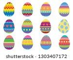 set of 12 colourful easter eggs ...   Shutterstock .eps vector #1303407172