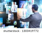 concept of streaming video with ... | Shutterstock . vector #1303419772