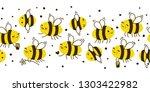 seamless border with cute honey ... | Shutterstock .eps vector #1303422982
