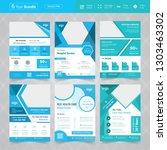 cyan color medical flyer bundle ... | Shutterstock .eps vector #1303463302
