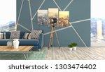 interior of the living room. 3d ...   Shutterstock . vector #1303474402