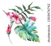 pink exotic tropical hawaiian...   Shutterstock . vector #1303476742