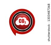 carbon dioxide icon on glossy... | Shutterstock .eps vector #1303487368