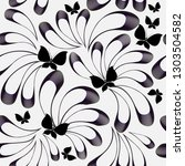 floral black and white vector...   Shutterstock .eps vector #1303504582