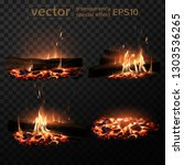 four images of a burning fire... | Shutterstock .eps vector #1303536265