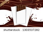 a bar of chocolate in a torn... | Shutterstock .eps vector #1303537282