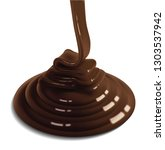 the glossy stream of chocolate... | Shutterstock .eps vector #1303537942