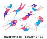 collection of people flying ... | Shutterstock .eps vector #1303541482