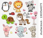 set of cute cartoon animals on... | Shutterstock .eps vector #1303564075