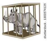 cute cartoon rhinoceros inside... | Shutterstock .eps vector #1303574125