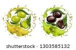 olive oil splash 3d realistic... | Shutterstock .eps vector #1303585132