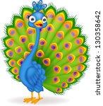 peacock cartoon | Shutterstock . vector #130358642