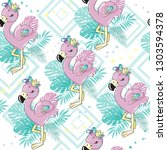 cute flamingo with palm leaves... | Shutterstock .eps vector #1303594378