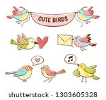 colorful cute bird icons ... | Shutterstock .eps vector #1303605328