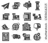 postal service set of gray... | Shutterstock .eps vector #1303616215