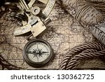 Old Map And Cooper Compass With ...