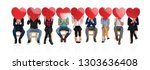 large group of people holding... | Shutterstock . vector #1303636408