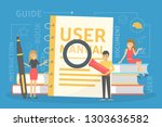 user manual concept. guide book ... | Shutterstock .eps vector #1303636582
