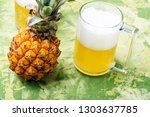 glass with eya with pineapple... | Shutterstock . vector #1303637785