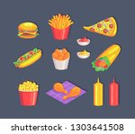 colorful fast food set isolated ... | Shutterstock .eps vector #1303641508