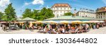 Munich, Germany - June 11: View of Viktualienmarkt a sunny day. It is a daily food market and a square in the center of Munich near Marienplatz onjune 11, 2018 - stock photo