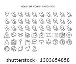 navigation  bold line icons.... | Shutterstock .eps vector #1303654858