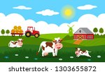 cute cows and funny calves...   Shutterstock .eps vector #1303655872