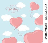 pink valentine balloons in the... | Shutterstock . vector #1303666615