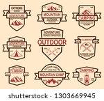 set of mountain camp emblem... | Shutterstock .eps vector #1303669945