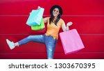 happy trendy asian girl with... | Shutterstock . vector #1303670395