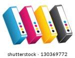 cmyk cmjn ink toners.... | Shutterstock .eps vector #130369772