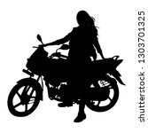 biker girl silhouette isolated ... | Shutterstock .eps vector #1303701325